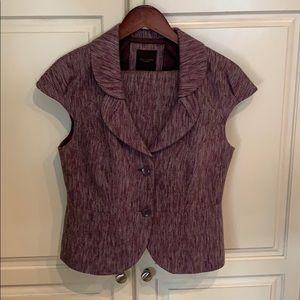 Magenta Tweed Sleeveless Suit Jacket & Skirt Set